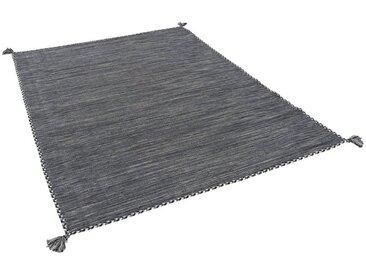 Pergamon Wollteppich »Natur Teppich Kelim Prico«, Rechteckig, Höhe 8 mm, grau, Anthrazit