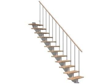 Dolle DOLLE Mittelholmtreppe »Hamburg Eiche 75«, bis 258 cm, Metallgeländer, versch. Ausführungen, natur, gerade, natur