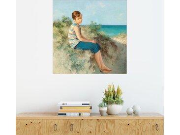 Posterlounge Wandbild, Mädchen in den Dünen am Nordseestrand auf Sylt, Premium-Poster