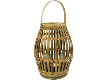 Guru-Shop Windlicht »Windlicht, Kerzenhalter, Teelichtlampe aus Bambus«