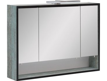 Schildmeyer Spiegelschrank »Maxima« mit LED-Beleuchtung, blau, patina Dekor-Spiegel