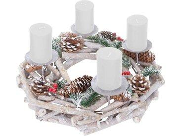MCW Adventskranz »T867-R«, Ø 35 cm, Mit 4 Kerzenhaltern, Aufwendig geschmückt, weiß, weiß, weiße Kerzen