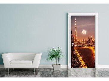 Bilderdepot24 Deco-Panel, Türaufkleber Dubai im Mondlicht