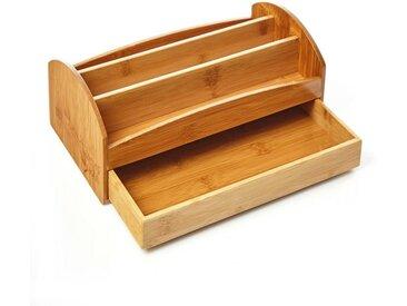 Bambuswald Organizer, für den Schreibtisch aus 100% Bambus mit Schublade - nachhaltiger & ökologischer Multiköcher mit 3 Fächern