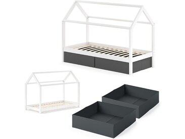 VitaliSpa® Kinderbett »WIKI 90x200 cm Weiß Schlafplatz Faltboxen Schwarz Hausbett Kinderhaus«