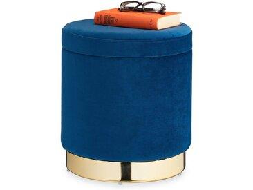 relaxdays Sitzhocker »Samthocker mit Stauraum blau«