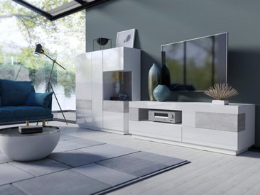 TRENDMANUFAKTUR Wohnwand »SILKE«, (Set, 2-tlg), weiß, weiß Hochglanz-Beton-Optik