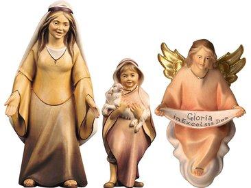 ULPE WOODART Krippenfigur »Hirtin mit Hirtenjunge und Engel« (Set, 3 Stück), zur Komet Krippe, Handarbeit