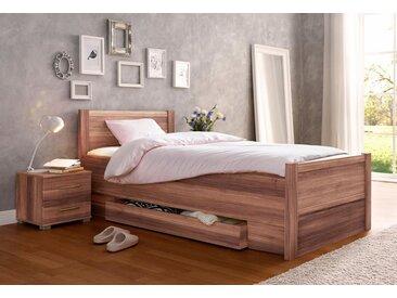 Bett, mit Komforthöhe, braun, mit Schubkästen, nussbaumfarben