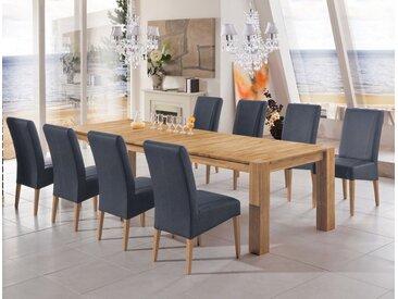 expendio Essgruppe »Marco«, (Spar-Set, 9-tlg), Ausziehtisch Eiche natur massiv 200(300)x100 cm + Stühle Lenz Hera anthrazit, 9 tlg. - mit 8x Stuhl