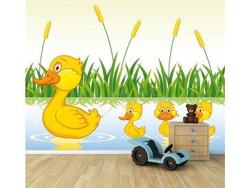 Bilderdepot24 Deco-Panel, Fototapete - Kinderbild Entenfamilie, bunt, Farbig