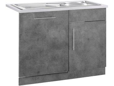 wiho Küchen Spülenschrank »Cali« 110 cm breit, inkl. Tür/Sockel für Geschirrspüler, grau, Betonfarben/Betonfarben