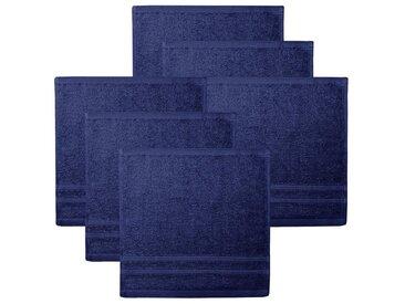 Lashuma Handtuch Set »London« (6-tlg), 6er Set Waschlappen, Uni Gästetücher 30x30 cm, blau, Marine