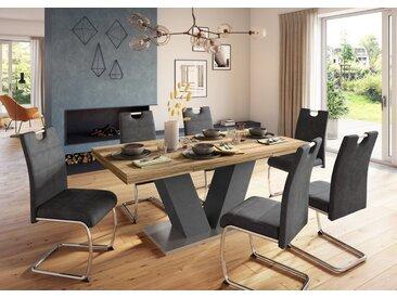 Esstisch »Komfort D«, mit V-Gestell in graphit und mit Auszugsfunktion, Breite 180-280 cm, grau, graphit/plankeneiche