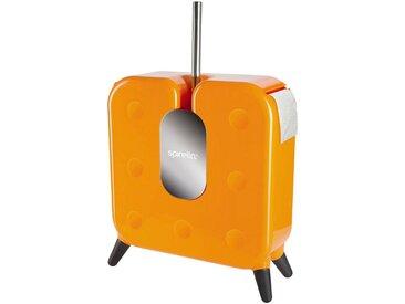 spirella SPIRELLA WC-Garnitur »CUBE«, WC-Bürste und Toilettenpapierhalter 2 in 1, orange, orange, orange