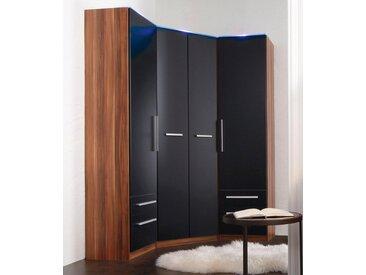 Eckkleiderschrank »Barcelona«, schwarz, Tiefe Seitenteil 36 cm, ohne Beleuchtung, nussbaumfarben/schwarz