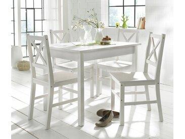 Home affaire Essgruppe, (Set, 5-tlg), mit kleinem oder großem Tisch, weiß, 100/70 cm, weiß