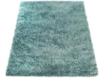 Paco Home Hochflor-Teppich »Glamour 300«, rechteckig, Höhe 70 mm, Shaggy mit weichem Glanz Garn in Uni, blau, türkis