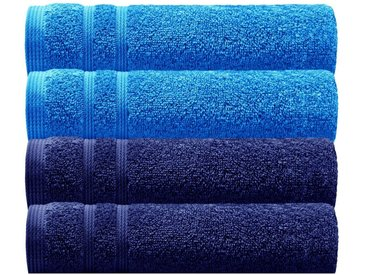 Lashuma Handtuch Set »London« (Set, 4-tlg), 4x Gästetücher 30x50 cm, Hochwertige Badezimmer Handtücher Klein, blau, cornflower-marine