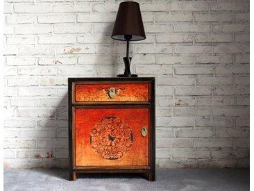 OPIUM OUTLET Nachtkommode »Chinesisches Nachtkästchen Vintage-Stil«, Asiatischer Nachttisch orientalischer Nachtschrank Nachtschränkchen Kästchen, Shabby Vintage, Breite 45 cm, Höhe 55 cm, orange
