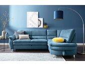 sit&more Ecksofa, mit Federkern, blau, mit Bettfunktion, azur