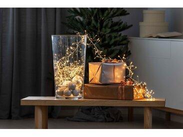 KONSTSMIDE Micro LED Büschellichterkette, Drahtlichterkette, silberfarben, Lichtquelle bernsteinfarben, Silber