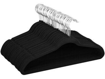 Yaheetech Kleiderbügel, (100-tlg), 100 Stück samt Kleiderbügel anti-Rutsch Anzugbügel mit rutschfeste Oberfläche Garderobenbügel Schwarz, schwarz