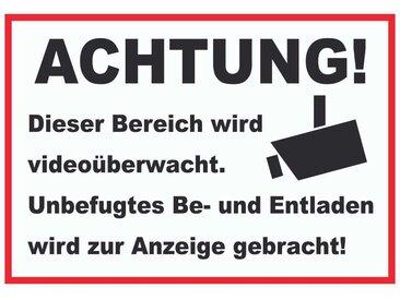 HB-Druck Metallschild »Achtung Videoüberwachung Be- und Entladen Schild«, 2mm Aluminiumverbundpaltte mit Digitaldruck und Schutzlaminat, selbstklebend