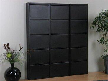 ebuy24 Schuhschrank »Pisa Schuhschrank mit 15 Klappen/ Türen in Metall«, schwarz, Metall pulverbeschichtet schwarz., schwarz