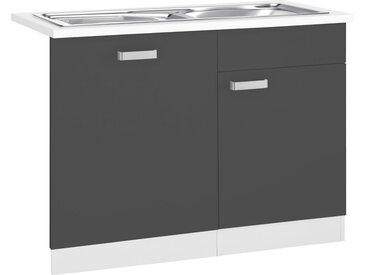 wiho Küchen Spülenschrank »Husum« 110 cm breit, inkl. Tür/Sockel für Geschirrspüler, grau, anthrazit/weiß