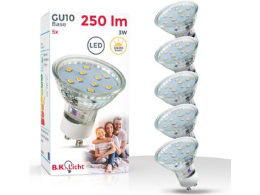 B.K.Licht LED-Leuchtmittel, GU10, 5 Stück, Warmweiß, LED Lampe Birne 3W 3.000K 250 Lumen Energiesparlampe