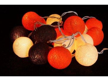 Guru-Shop LED-Lichterkette »Stoff Ball Lichterkette, LED Kugel Lampion..«, Sommer Farbe