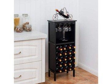 COSTWAY Weinregal »Flaschenregal Weinschrank Weinflaschenhalter«, für 20 Flaschen, mit Glasaufhänger, schwarz, MDF +Kiefernholz, schwarz