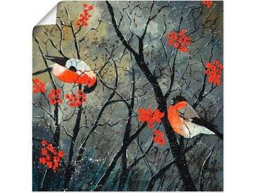 Artland Wandbild »rote Vögel im Winter«, Vögel (1 Stück), in vielen Größen & Produktarten - Alubild / Outdoorbild für den Außenbereich, Leinwandbild