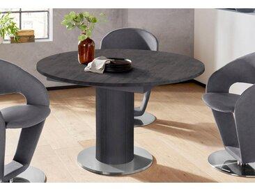 Esstisch, rund, Untergestell Säule, grau, schwarz/anthrazit/keramik dunkel - keramik dunkel