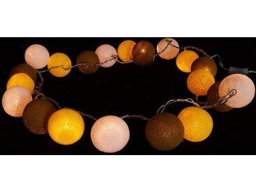Guru-Shop LED-Lichterkette »Stoff Ball Lichterkette LED Kugel Lampion..«, gelb/braun/weiß