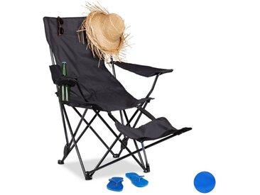 relaxdays Campingstuhl »Campingstuhl mit Fußablage«, schwarz, Schwarz