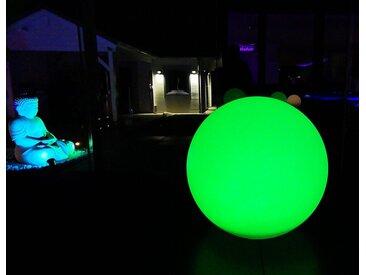 TRANGO LED Kugelleuchte, 1er Set SO-003 IP44 LED-Solarleuchte in 30cm Durchmesser Weiß matt mit 3000K warmweiß LED & RGB Farbwechsel LED *SNOWY* Solarkugel Leuchte Leuchtkugel, Außenleuchte, Kugellampe