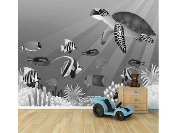 Bilderdepot24 Deco-Panel, Fototapete - Kinderbild Unterwasser Tiere II, bunt, Schwarz Weiss