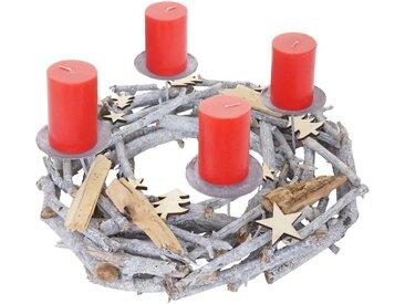 MCW Adventskranz »T871«, Ø 40 cm, Mit 4 Kerzenhaltern, Aufwendig geschmückt, grau, grau, rote Kerzen