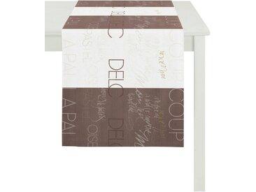APELT Tischläufer »SLOGAN, LOFT STYLE, Jacquard« (1-tlg), braun, weiß-braun