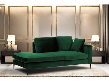 Leonique Recamiere »Cozy«, mit losen Kissen und Metallbeinen, Armlehne links oder rechts wählbar, grün, Armlehne rechts, dunkelgrün