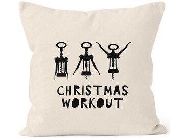 MoonWorks Dekokissen »Kissenbezug Weihnachten Christmas Workout Flaschenöffner Korkenzieher Wein trinken lustig Fun ®«, natur, natur