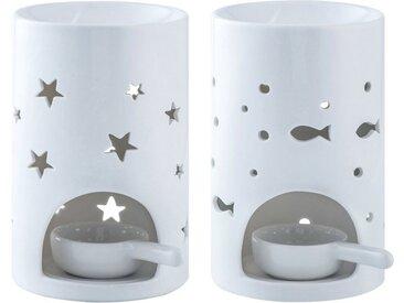 LOVECASA Duftlampe (Set, 2 St), Duftlampe mit Kerzenhalter, Sterne und Fische Muster
