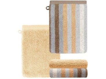 Lashuma Handtuch Set »Pure« (Set, 4-tlg), Waschlappen 4 teilig Gestreift und Uni, Saugstarke Frotteetücher 15x21 cm, goldfarben, sandbeige