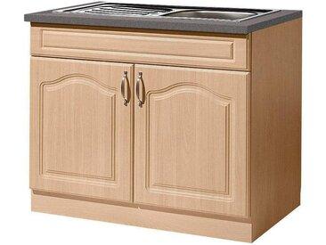 wiho Küchen Spülenschrank »Linz« 100 cm breit, inkl. Einbauspüle, natur, Buchefarben