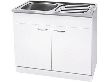 wiho Küchen Spülenschrank »Kiel« 100 cm breit mit Auflagespüle, weiß, Weiß/Weiß
