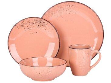 vancasso Geschirr-Set »NAVIA« (4-tlg), Steingut, 4 teilig Steingut Geschirrset für 1 Person, rosa, 4 tlg., Rosa