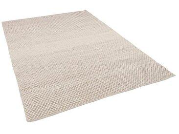 Pergamon Wollteppich »Baumwolle Natur Kelim Teppich Sandy Meliert«, Rechteckig, Höhe 8 mm, grau, Grau