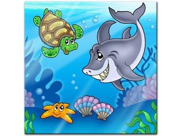 Bilderdepot24 Glasbild, Glasbild - Kinderbild Unterwasser Tiere